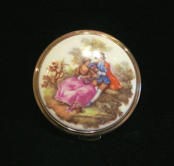 Vintage French Limoges Fragonard Compact Porcelain Courtship Powder & Mirror Compact Unused