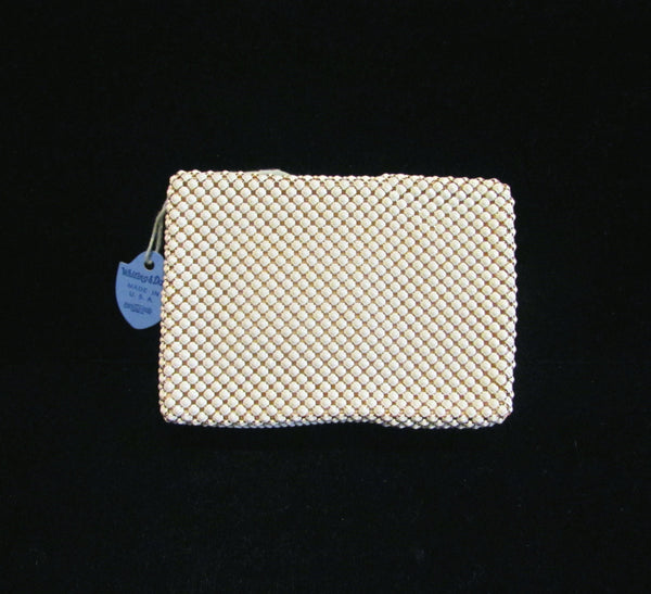 Vintage Whiting & Davis White And Gold Mesh Cigarette Case Cell Phone Case Change Purse Card Holder Coin Purse MINT ORIGINAL BOXED