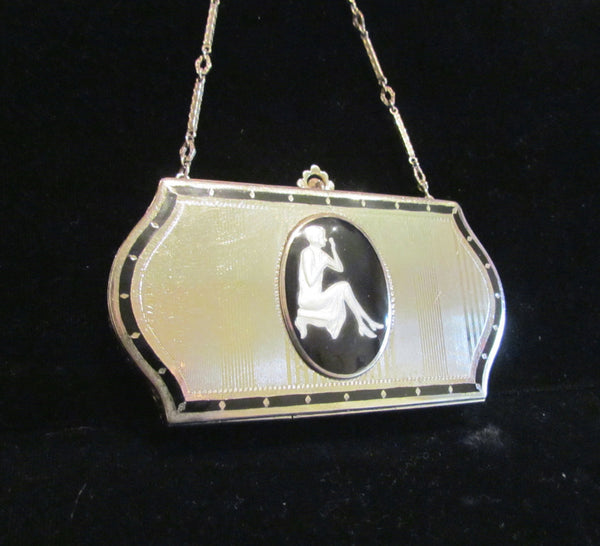 1926 D.F. Briggs Compact Purse Art Deco Silver And Glass Cameo Vintage Makeup Dance Purse