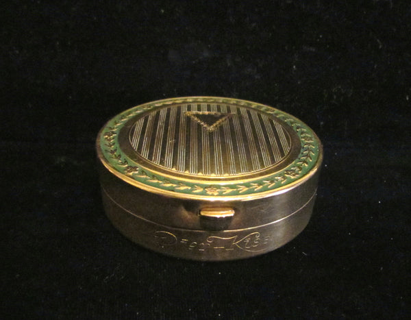 1910 Djer Kiss Double Compact With Powder Rouge Mirror Gold And Green Enamel