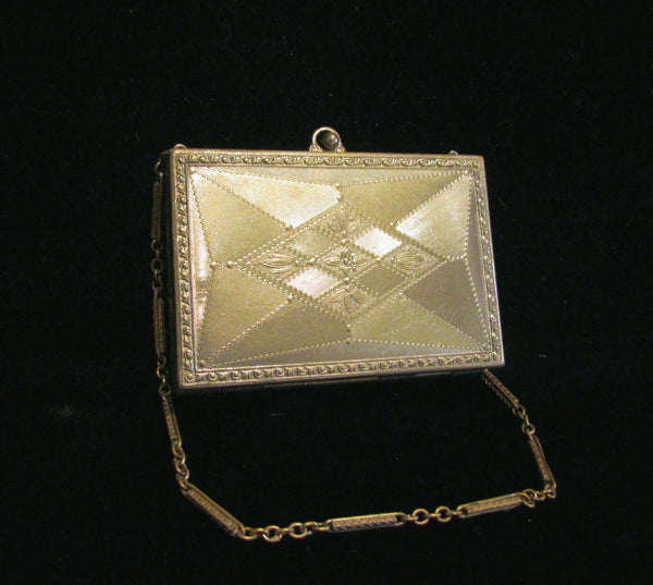 Victorian Silver Compact Purse Antique Wristlet Purse Etched Engine Turned Design