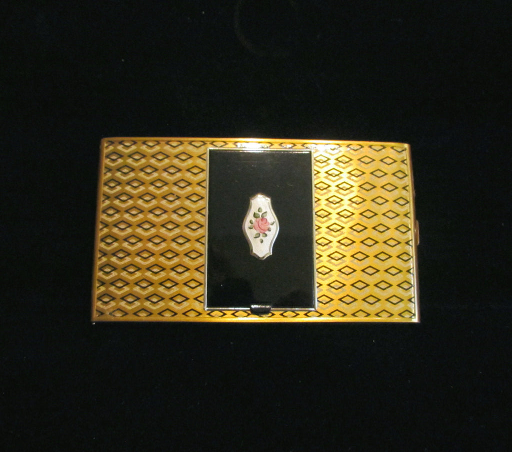 Art Deco Compact Cigarette Case 1940s Guilloche Enamel Powder & Rouge Gold Compact Case