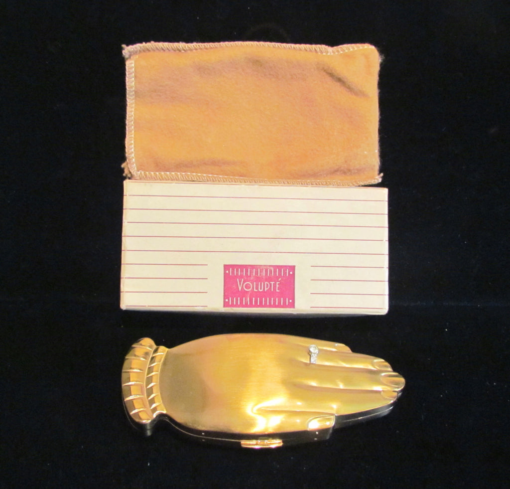 1940s Volupte Golden Gesture Hand Compact Rhinestone Engagement Ring Pouch Original Box Unused Rare