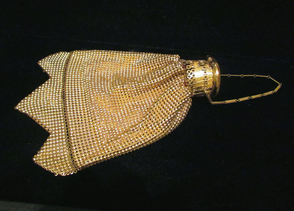 Gorgeous 1920s Gate Top Purse Whiting And Davis Beggars Bag Accordian Antique Purse Gold Mesh Gatetop