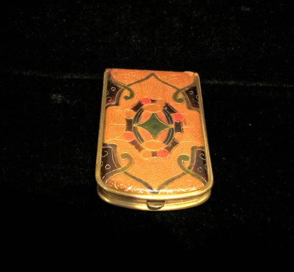 1930s Mondaine Leather Book Compact Vintage Powder Rouge And Mirror Art Deco Compact
