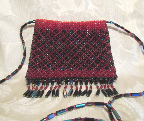 Boho 1960's Handmade Czech Glass Beaded Purse Bohemian Handbag Hippie Retro Red Black Beads Mint Condition