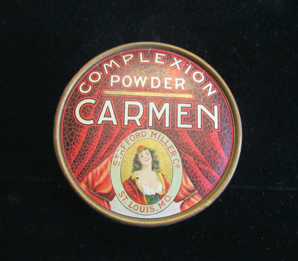 1930s Carmen Powder Box Vintage Complexion Powder Box Red Vanity Accessory Full Unused Rare