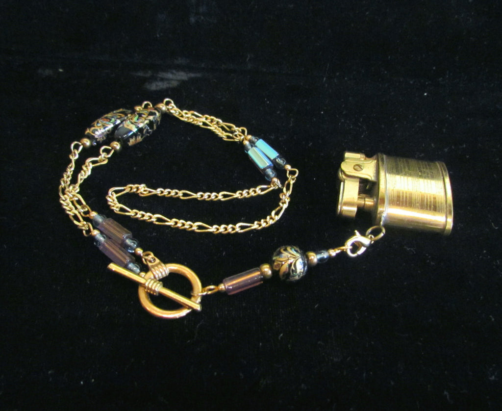 Handmade Beaded Lighter Necklace Gold Working Lighter Steampunk OOAK Pendant Necklace