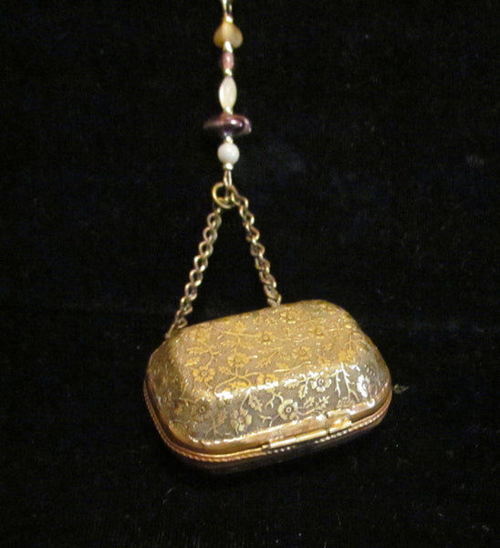 Gold Purse Pendant Necklace Victorian Scent Purse Antique Jewelry One Of A Kind