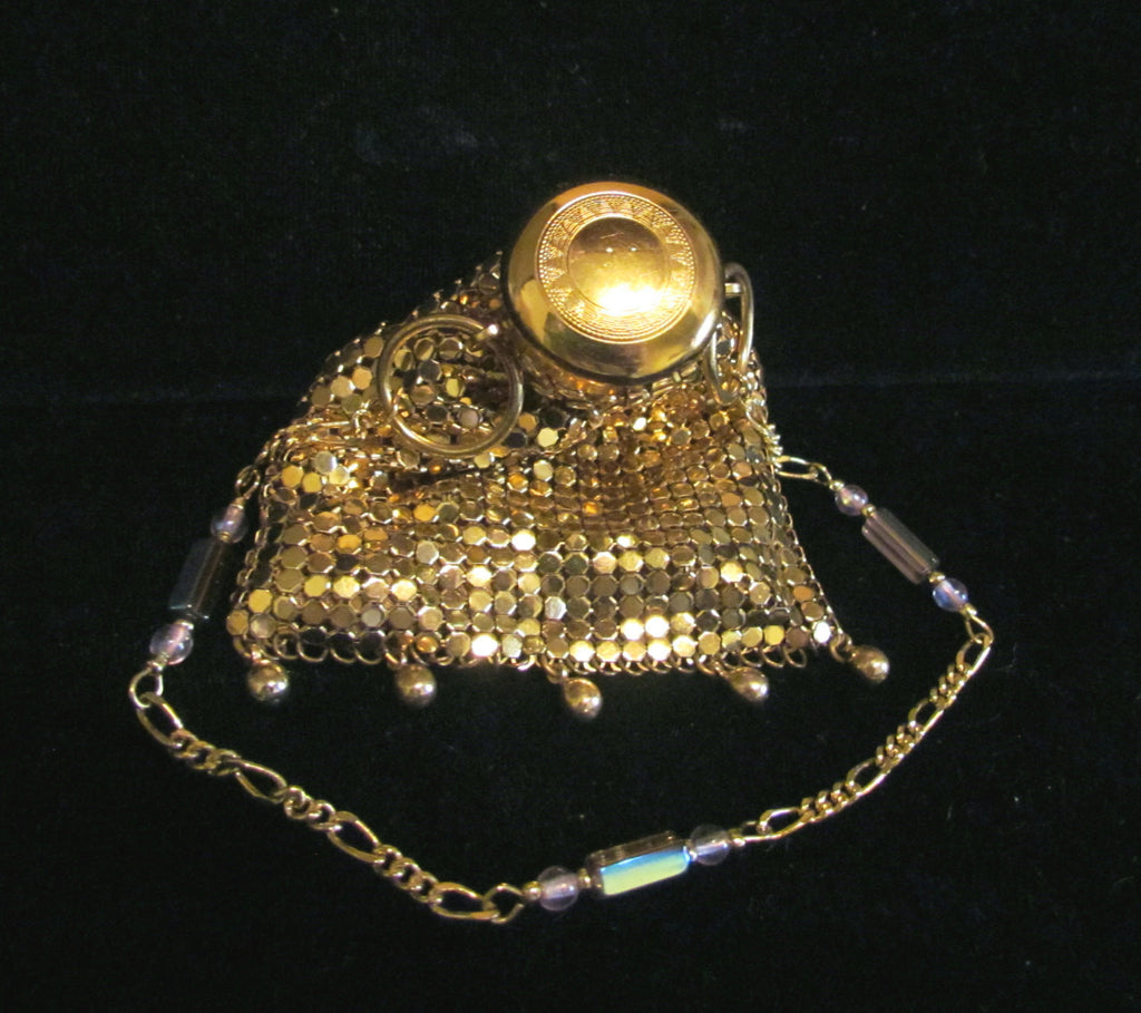 1940s Gold Mesh Gate Top Purse Beggars Bag Accordion Art Deco Hand Beaded Wristlet