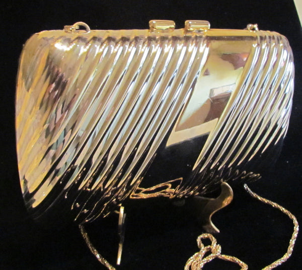 Vintage Pillow Purse Gold And Silver Clutch Or Shoulder Purse In Excellent Condition
