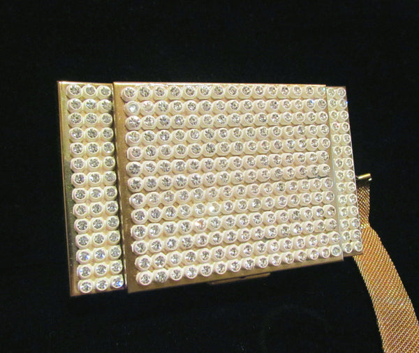 1950's Rhinestone Compact Purse Bling Bag Hollywood Regency Mad Men Unused