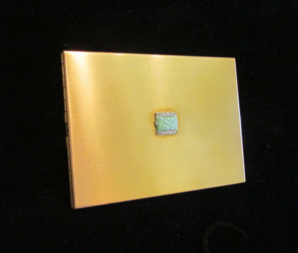 1950's Volupte Cigarette Case Gold Rhinestone Ladies Business Card Case