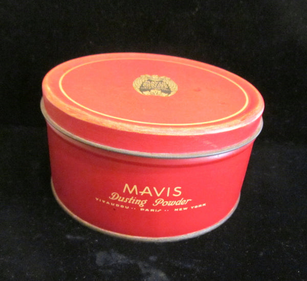 1920s Mavis Powder Tin Vivaudou Tin Talcum Powder Large 12 Ounce Tin Vintage Powder Tin Mavis Tin