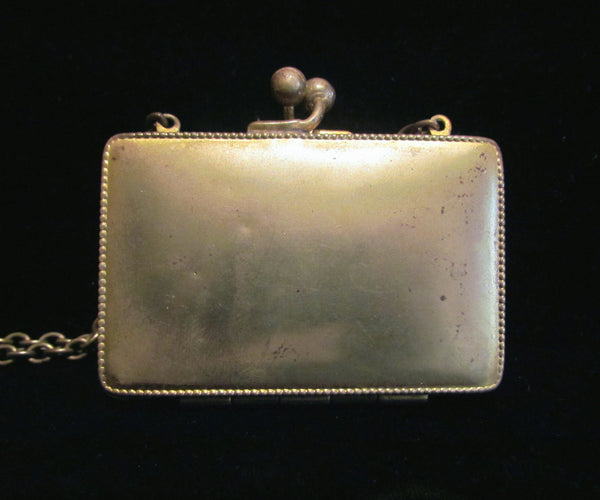 Victorian Gold Compact & Change Purse Antique Chatelaine Card Case Wristlet Purse