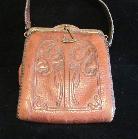 1910's Leather Purse Tooled Handbag Art Nouveau Purse Vintage Purse Antique Leather Handbag