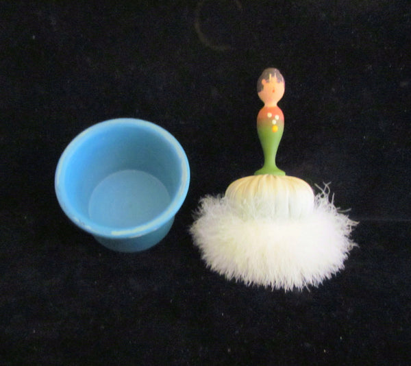 1940s Goose Down Powder Puff Jar Figural Doll Handle Vintage Powder Box Swan Powder Puff RARE