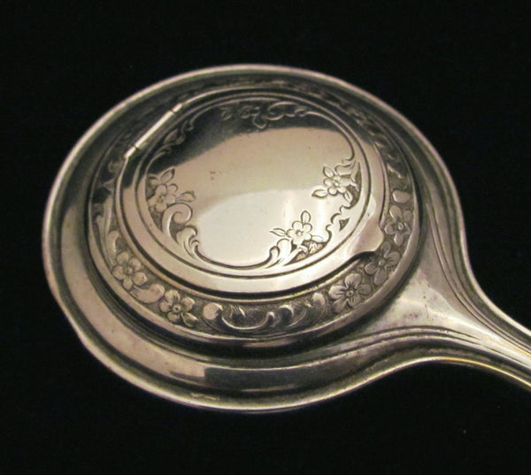 Victorian Silver Plated Mirror Compact Hand Held Mirror Compact Extremely Rare