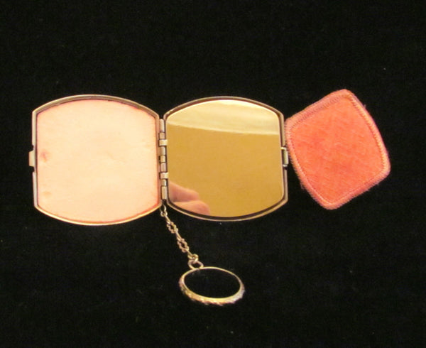 Art Deco Enamel Compact Purse Powder & Rouge Finger Ring Purse Rare Wonderful Condition