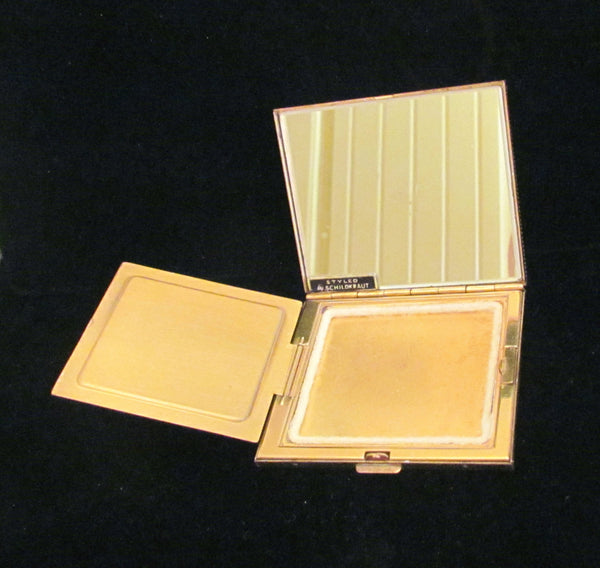 1950s Schildkraut Rhinestone Compact Gold Powder & Mirror Compact Bling Excellent Condition