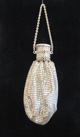 Whiting & Davis Silver Mesh Gate Top Purse Vintage Handbag Beggars Bag Accordion Art Deco Evening Bag