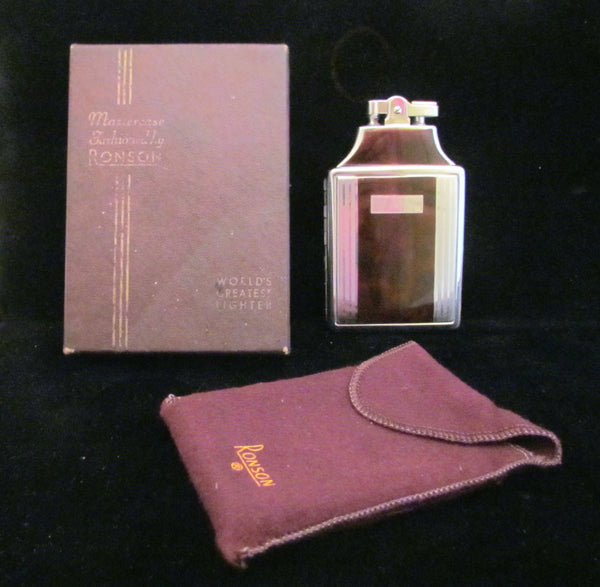 1930s Ronson Master Case Lighter Enamel Cigarette Case Working In Original Pouch And Box