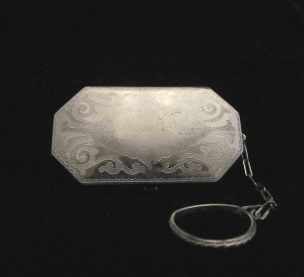 Victorian Compact Purse 1900s Silver Compact Ornate Antique Finger Ring Compact