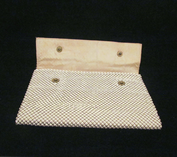 1930s Whiting Davis White Mesh Clutch Purse Vintage Envelope Style Purse Excellent Condition