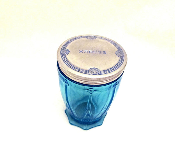 Karess Woodworth Cold Cream Jar Blue Glass 1920s Vintage Vanishing Cream Rare