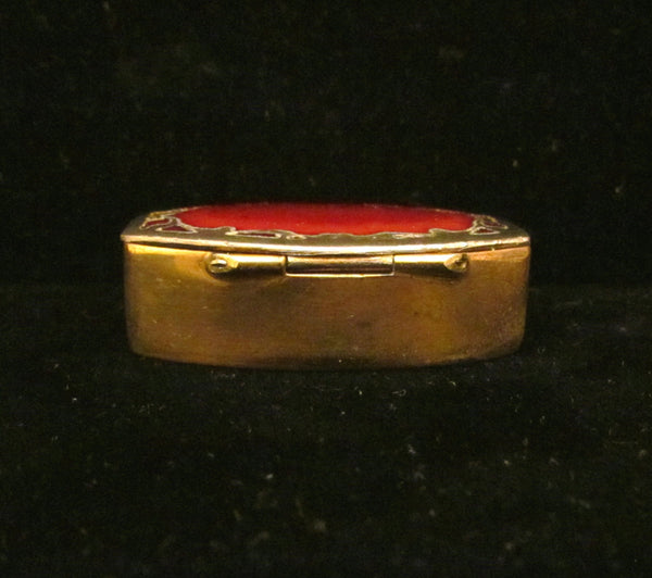 Silver Plated Red Enamel Pill Box Victorian 1900's Snuff Box Trinket