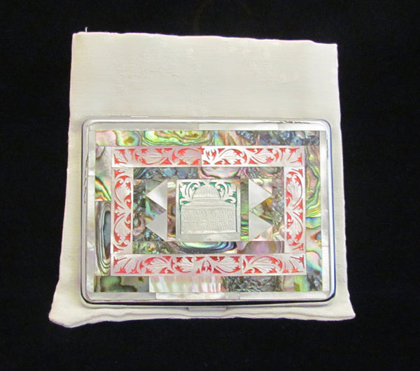 Taj Mahal Cigarette Case Business Card Case 1950s Mother Of Pearl & Abalone EMU Mid Century Case