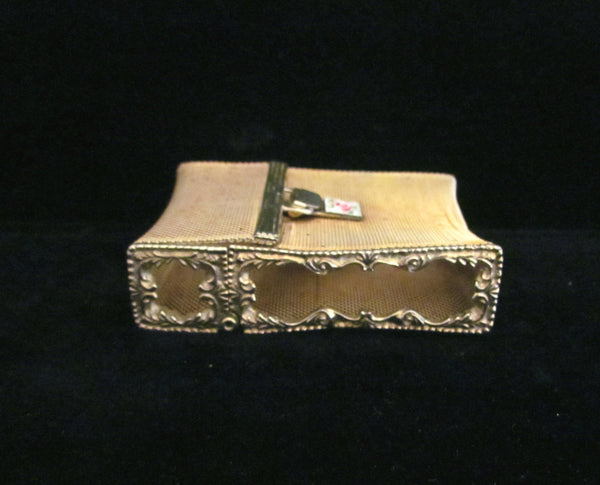 Ladies Gold Mesh & Guilloche Cigarette Case Vintage 1940s Unique