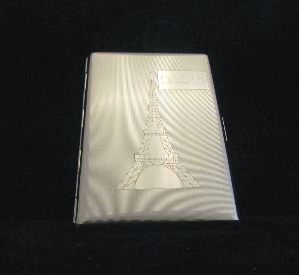 Paris Silver Cigarette Case Eiffel Tower Business Card Case Credit Card Wallet