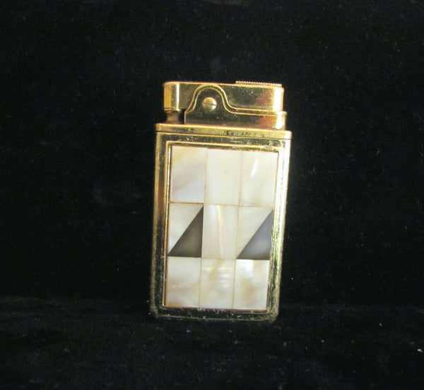 Musical Mother Of Pearl Lighter 1950's Gold Cigarette Lighter Crown Novelty Music Original Box Working