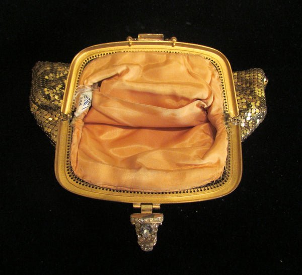 Whiting & Davis Mesh Purse Gold Rhinestone Vintage Wristlet Purse Wedding Purse Bridal EXCELLENT CONDITION