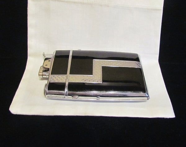 Evans Trig A Lite Cigarette Case Art Deco Case Lighter Black Enamel Working 1940s