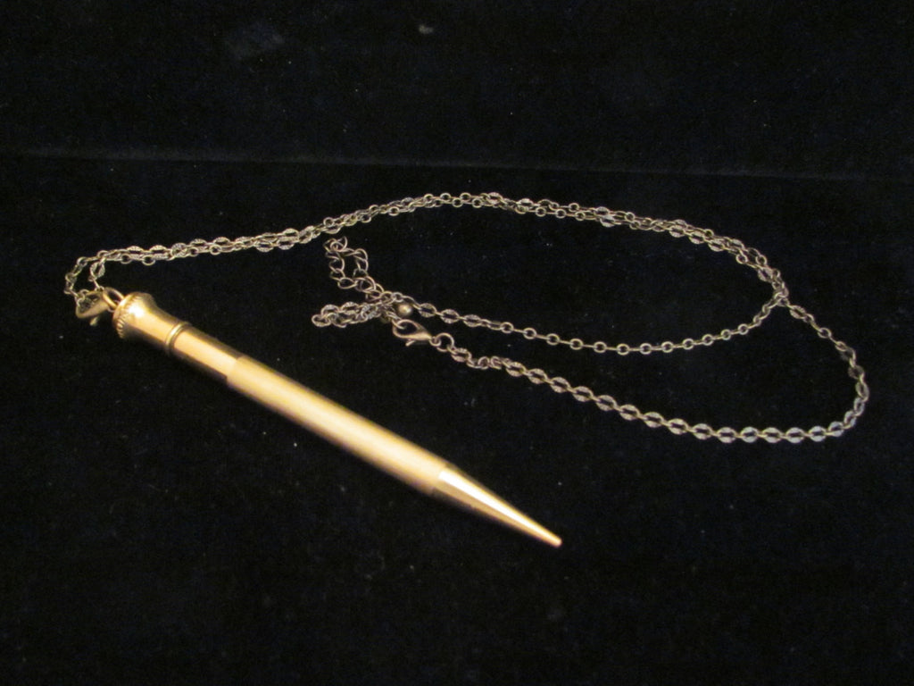 1920s Gold Filled Mechanical Pencil Necklace Superite 1/9 GF Engraved Date 1873 - 1923 Chatelaine Propelling Pencil