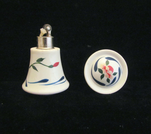 Porcelain Lighter Vintage Elfinware Ceramic Strikealite Table Top Lighter Hand Painted Floral Working