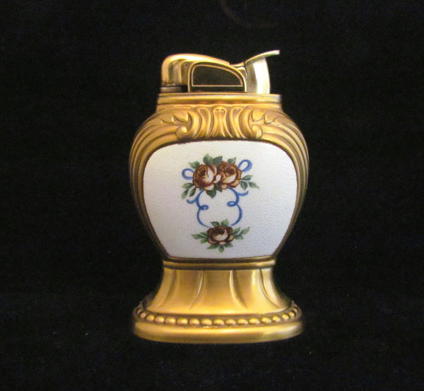 Vintage Guilloche Evans Table Lighter Womens Floral Lighter Working Gorgeous