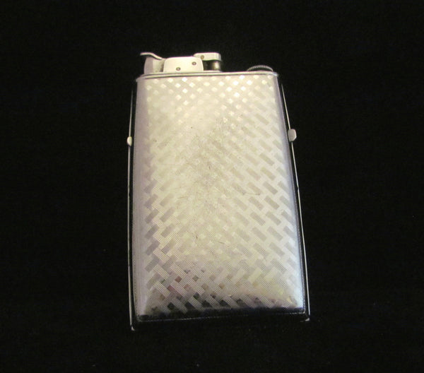Vintage Evans Trig-A-Lite Cigarette Case Art Deco Working Case Lighter 1940's Blue Enamel