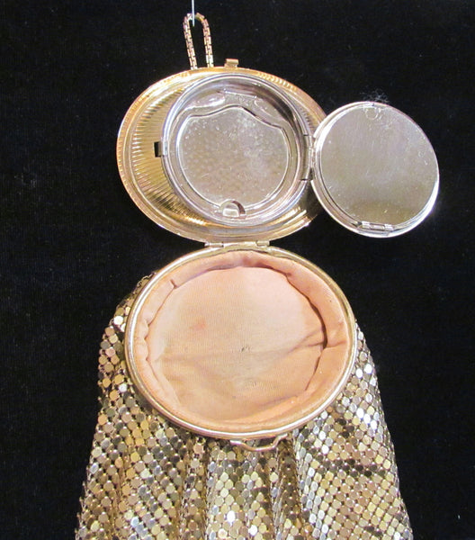 Evans Gold Mesh & Guilloche Wristlet Purse Handbag Vintage Powder Compact Bag