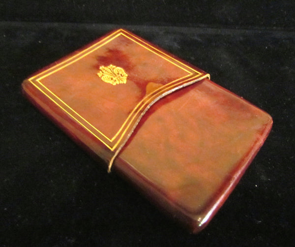 Vintage Tooled Leather Cigarette Case 1940's Italian Brown Leather Case LOVELY CONDITION