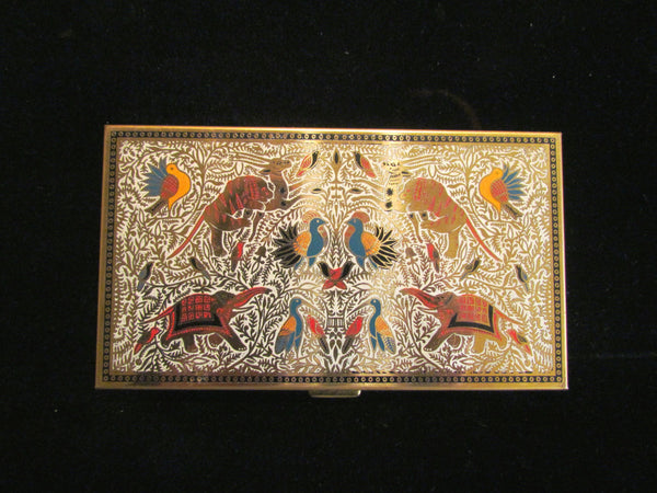 Vintage Volupte Compact Purse & Cigarette Case 1950s Enameled Asian Animal Design GORGEOUS