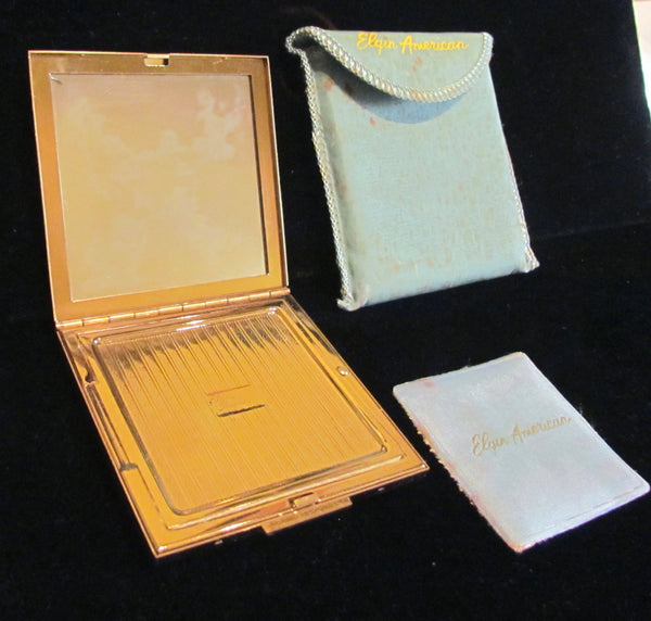 1940's Elgin American Gold Compact Poppy Powder Mirror Excellent Condition