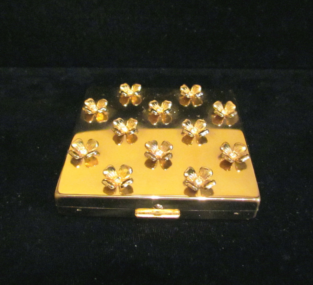 Paul Flato Rhinestone Dogwood Compact Powder & Mirror Gold Plated 1940's Excellent
