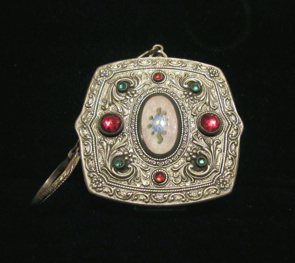 Victorian Jewel Compact Purse May Fair Silver Guilloche Red & Green Stones Finger Ring