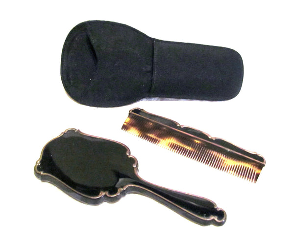 1930s Mirror Compact Comb Set Black Enamel Moire Holder Hand Held Compact Mirror UNUSED EXTREMELY RARE