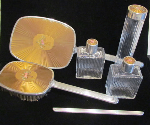 1930's Celluloid Guilloche Vanity Dresser Set Mirror Brush Comb Perfume Bottles & Accessories Excellent Condition