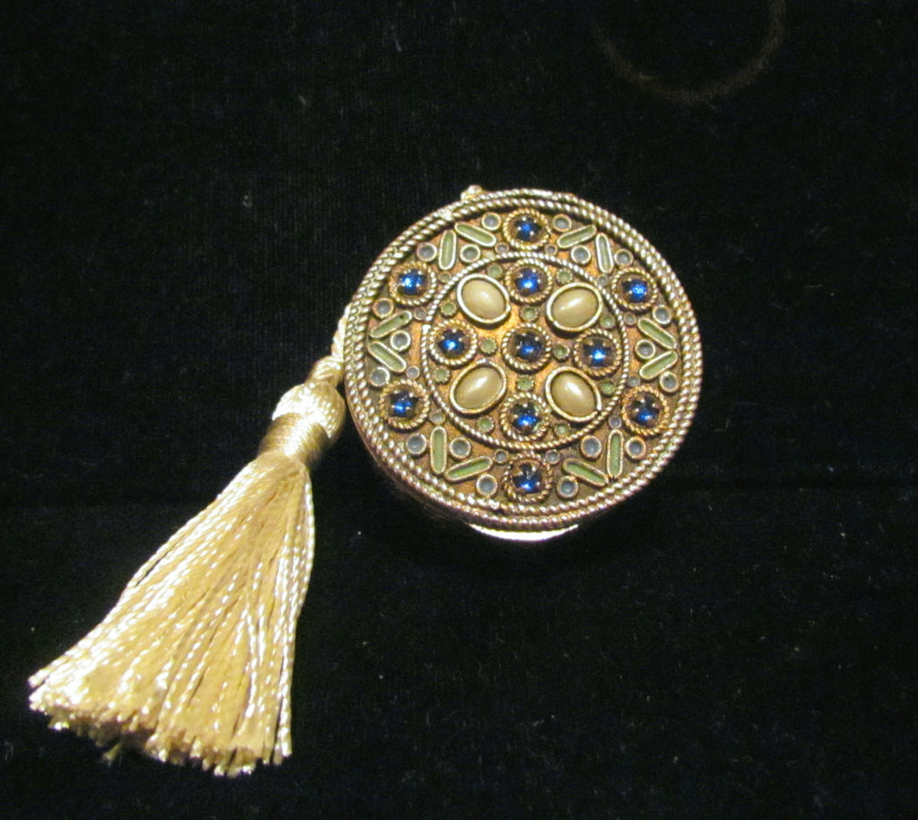 Antique French Gold Compact Blue Rhinestones & Pearls 1800's Powder Mirror Compact Purse Rare
