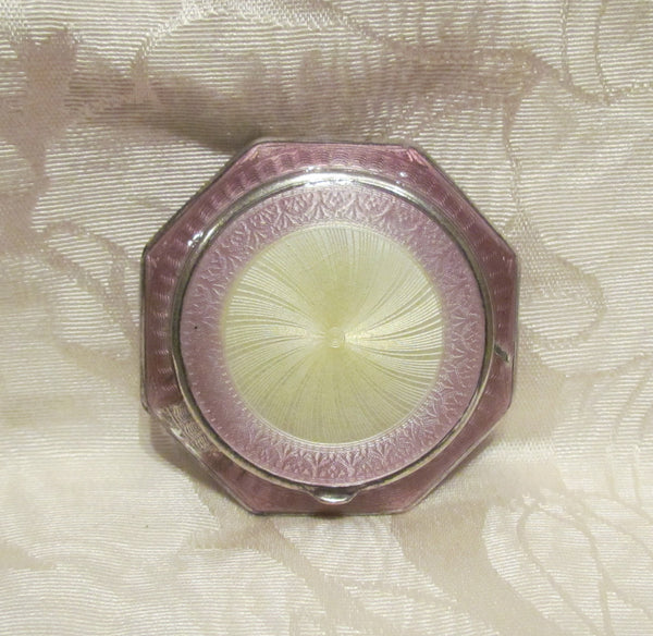 Finberg Guilloche Enamel Compact 1920s Lilac Silver FMC